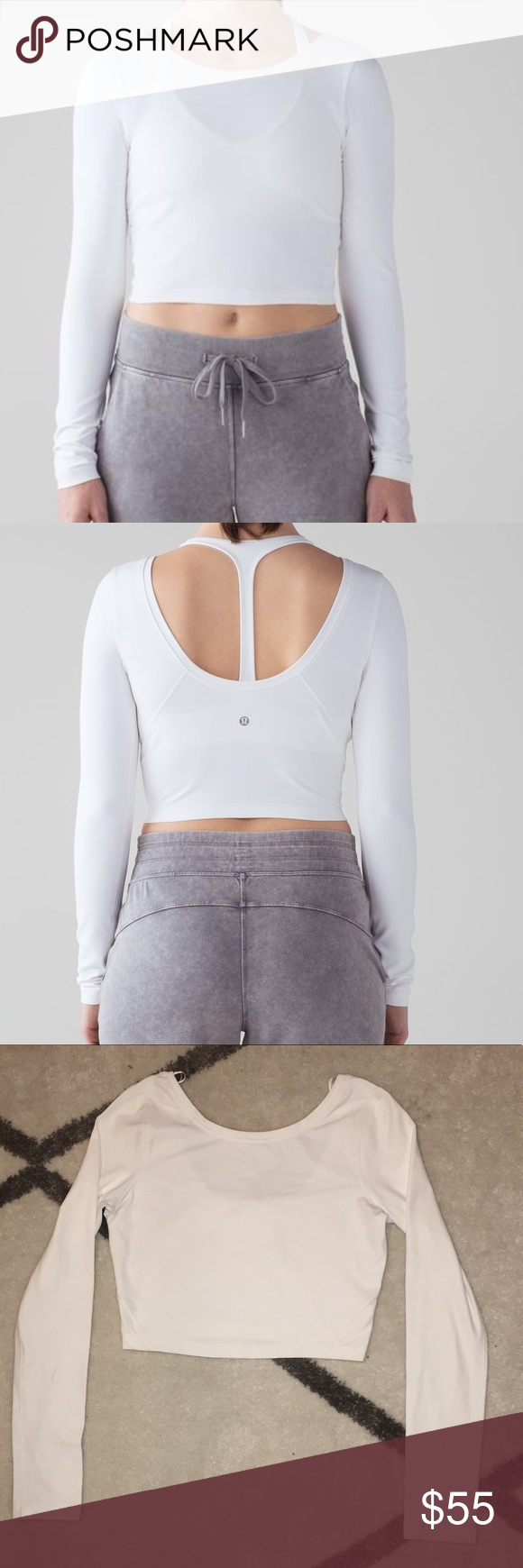 0dd3d1811ac Lululemon Arise Long Sleeve Crop Top White 6 Absolutely stunning white cropped  long sleeve. Size 6. Never worn!!! Took off tags but never wore cuz it was  ...