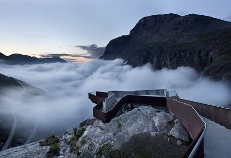 Trollstigen by Reiulf Ramstad Architects. A viewing platform perched  along the Geiranger-Trollstigen tourist route, a 66-mile scenic road across the Trollstigen Mountain Plateau in western Norway.