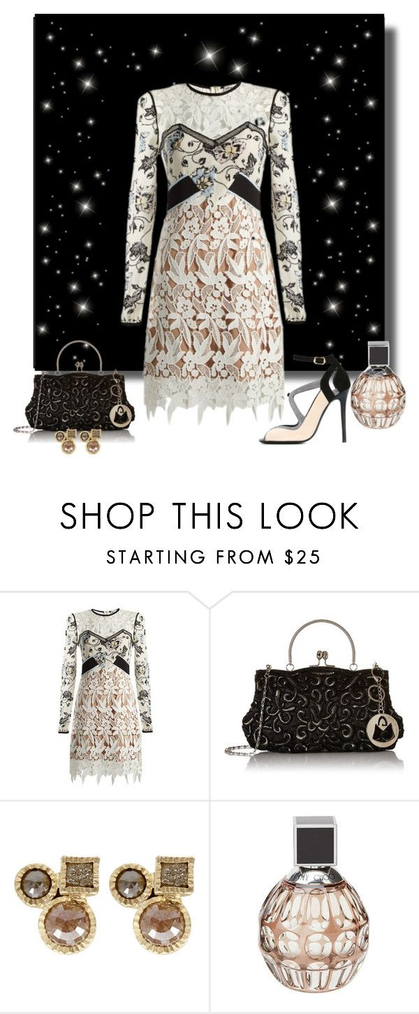 """Lace for a night out"" by whiteflower7 ❤ liked on Polyvore featuring self-portrait, Todd Reed, Jimmy Choo and Ballin"