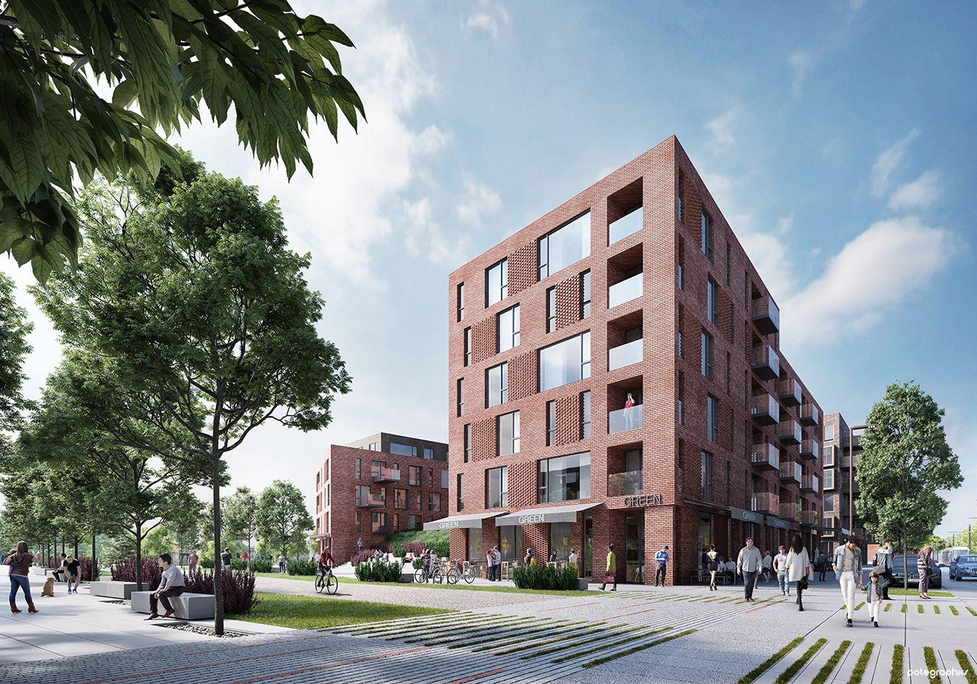 Torunska Housing On Behance Architecture Visualization Brick Facade Architecture