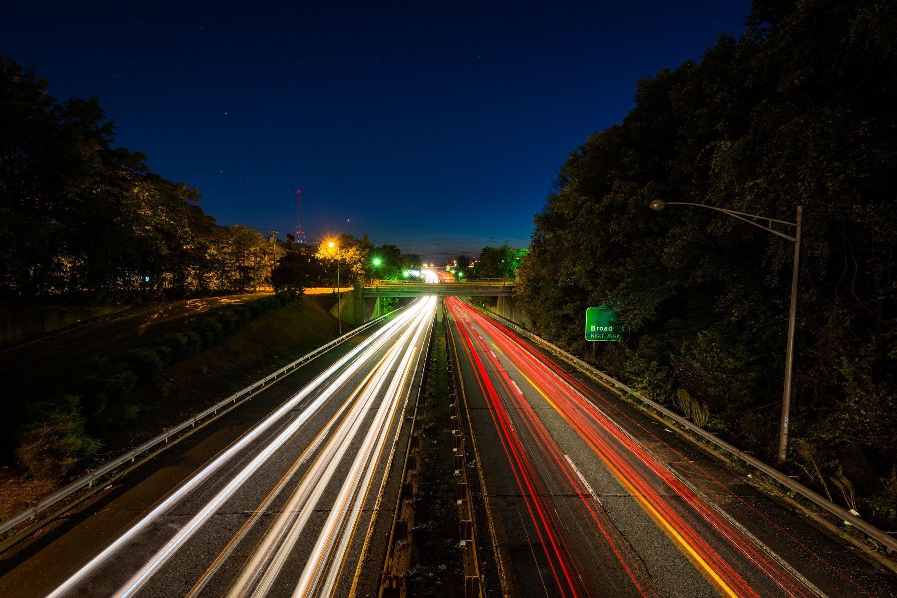 Interstate 40 Business at night, in downtown Winston-Salem, North ...