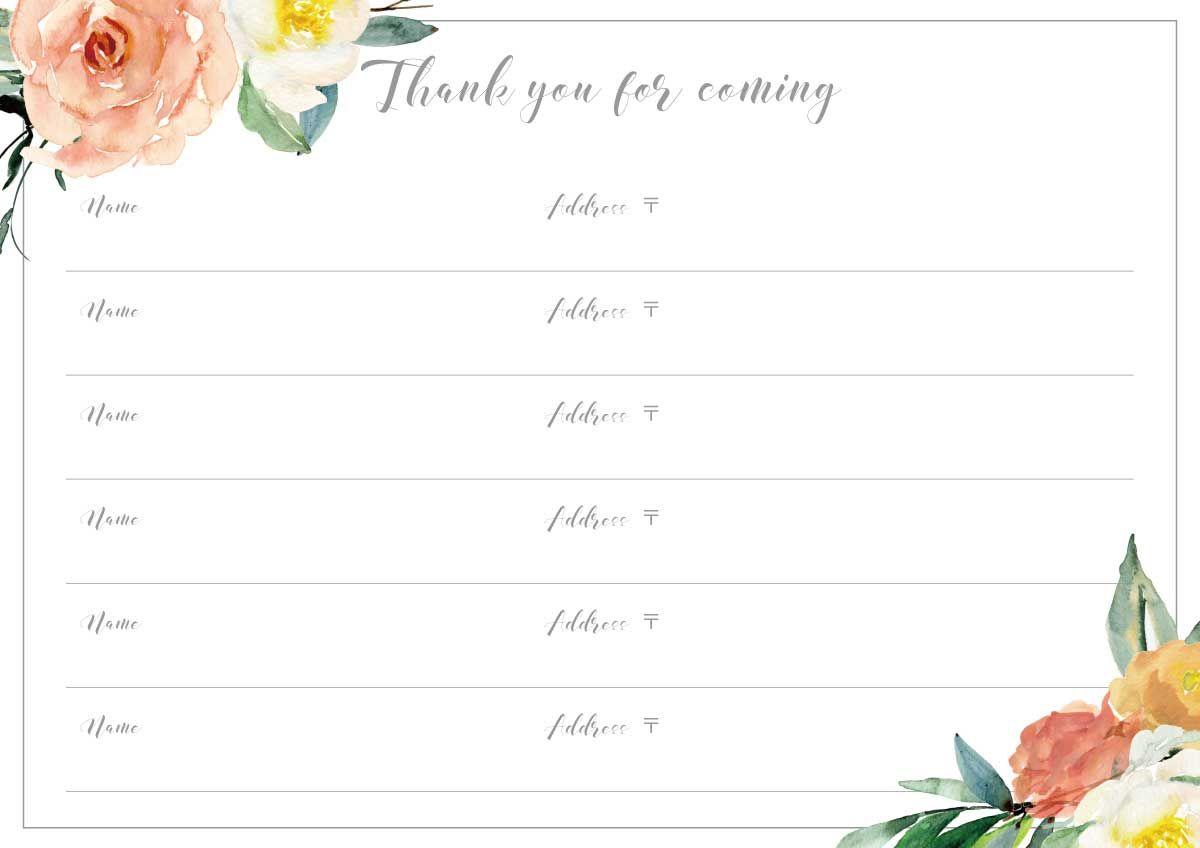 芳名帳無料テンプレート第2弾 フローラルデザインの結婚式ゲストブックを手作りしよう ウェディング 芳名帳 芳名 帳 芳名帳 手作り