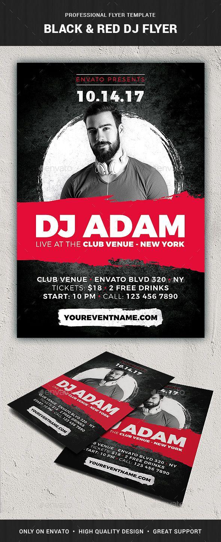 Black Red Dj Flyer Template Graphic Design Promotional Design Flyer