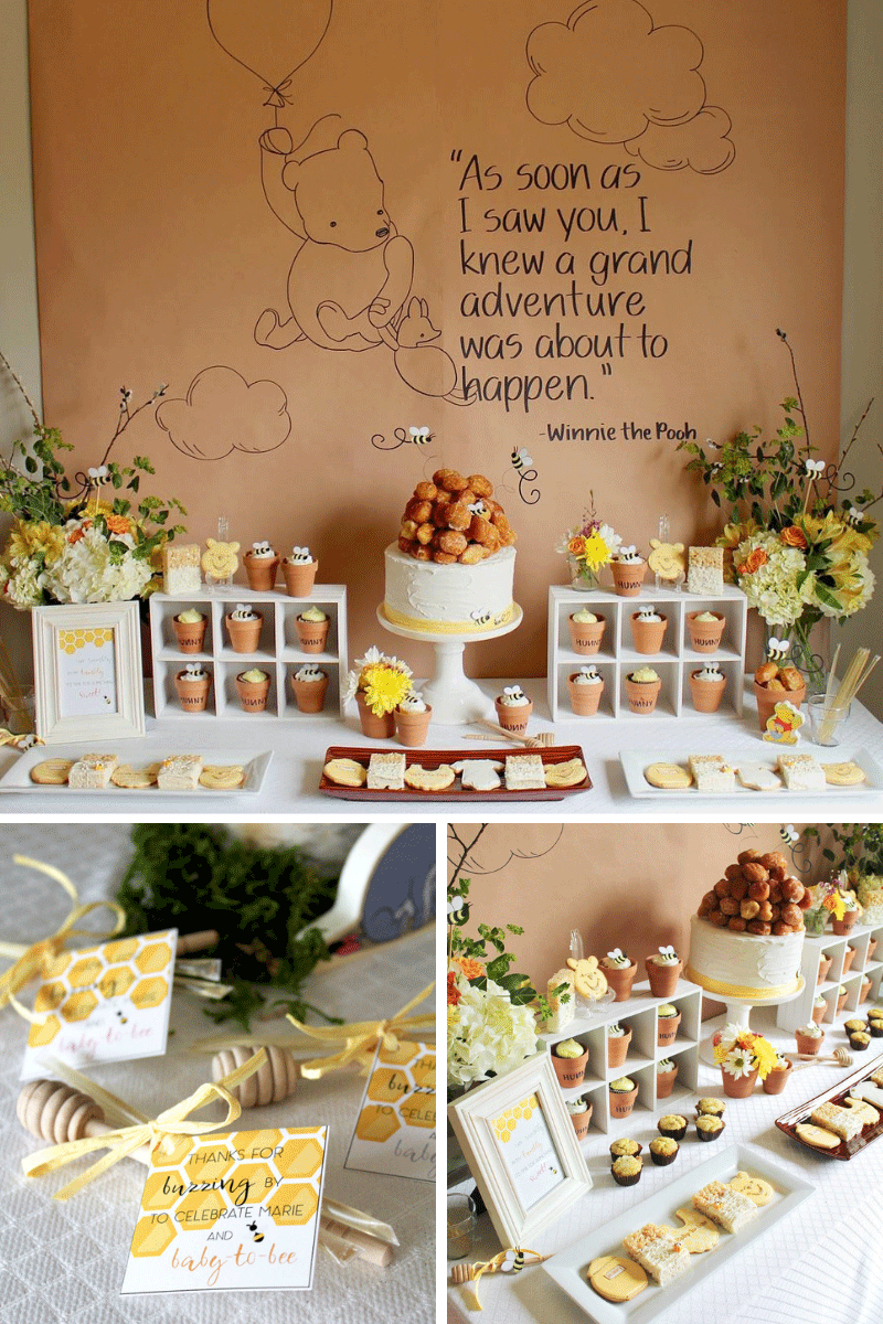 Free Bee Baby Shower Printables with Winnie the Pooh