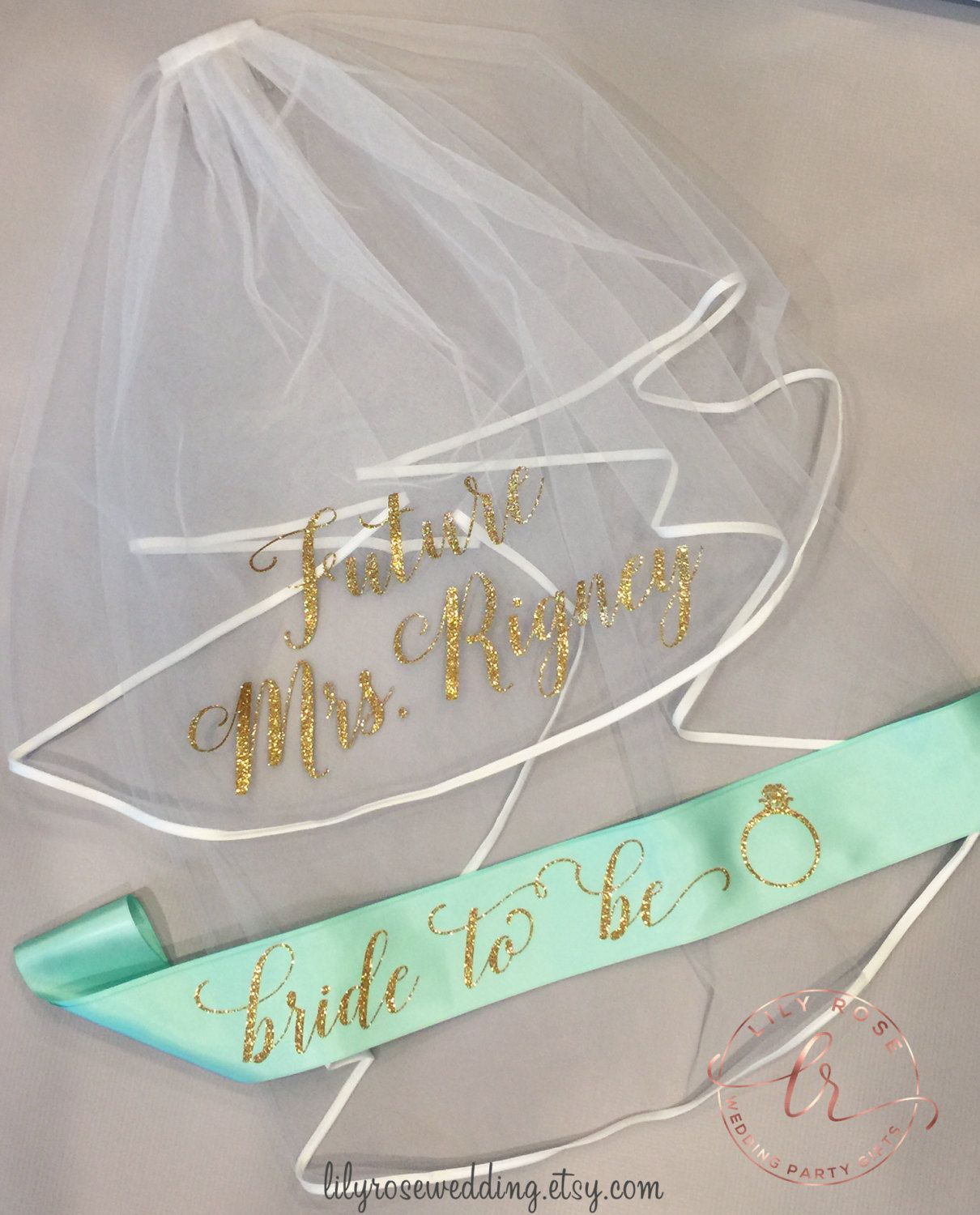 this listing is for our personalized bridal veil and sash you can personalize them with
