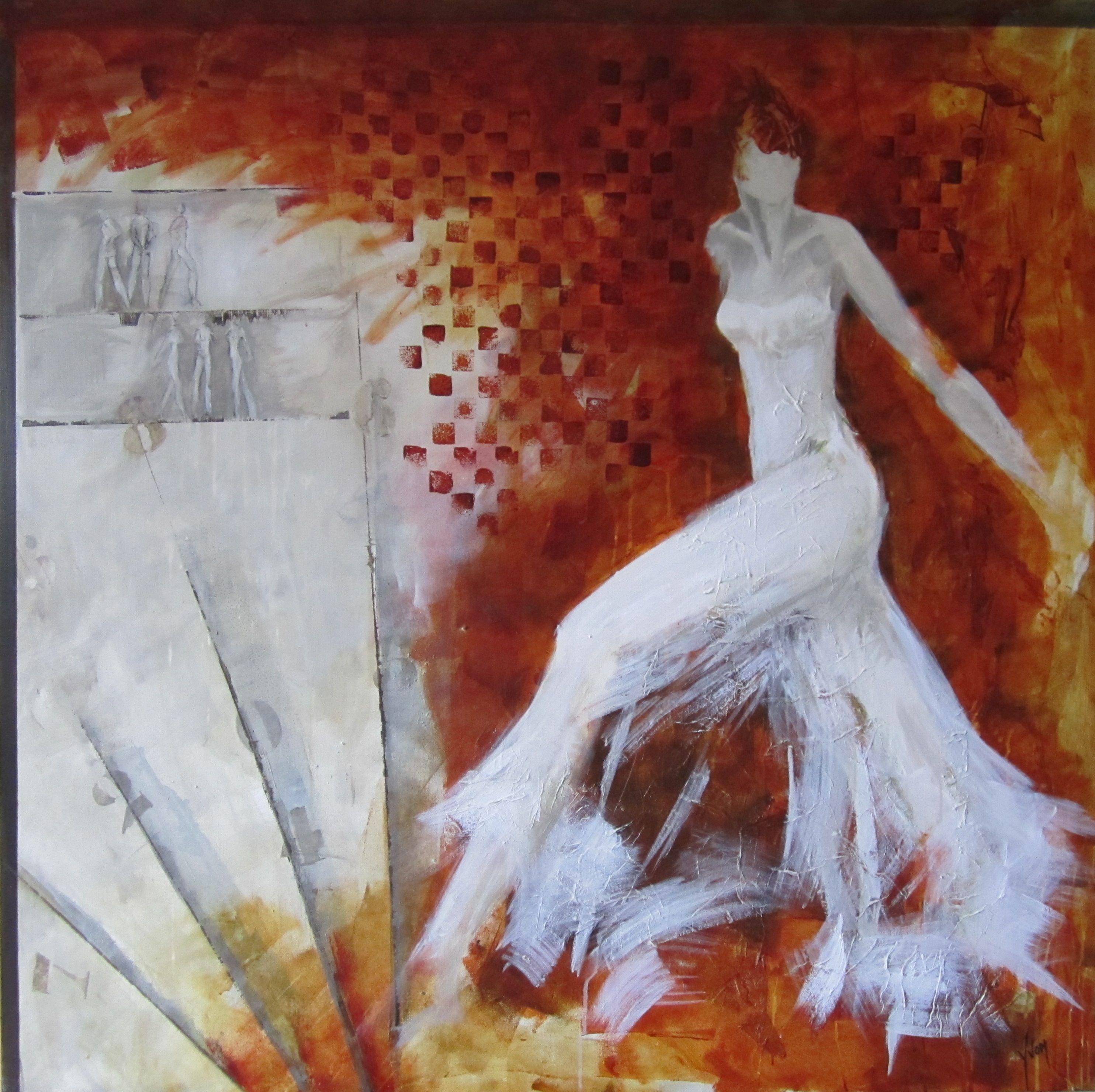 Schilderij figures dancing formaat 120x120 prchtige kleuren wit rood oranje gemengde - Bron schilderijen ...