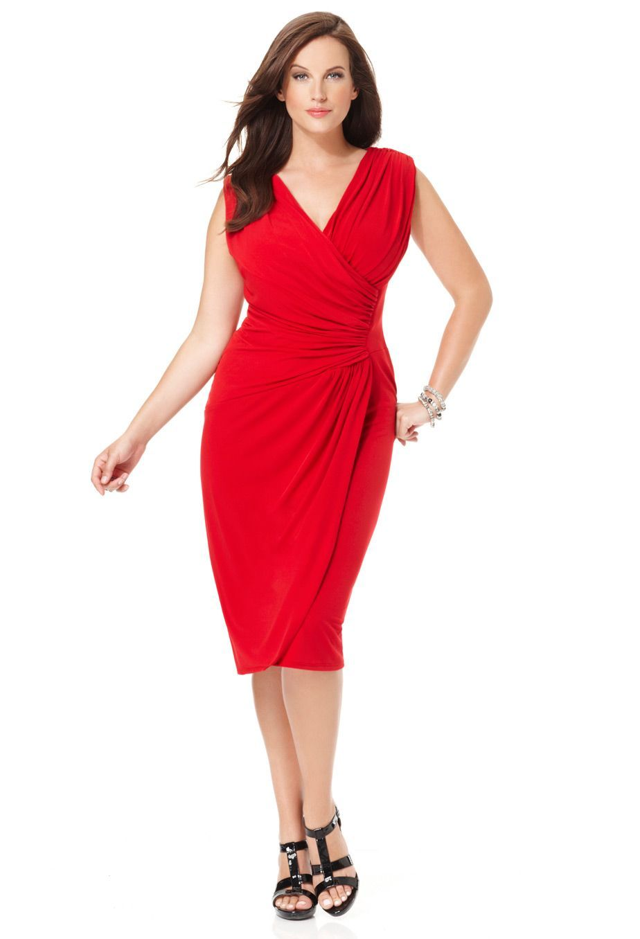 Sleeveless Faux Wrap Dress Plus Size Red Dress Wrap Dress Faux Wrap Dress [ 1356 x 924 Pixel ]
