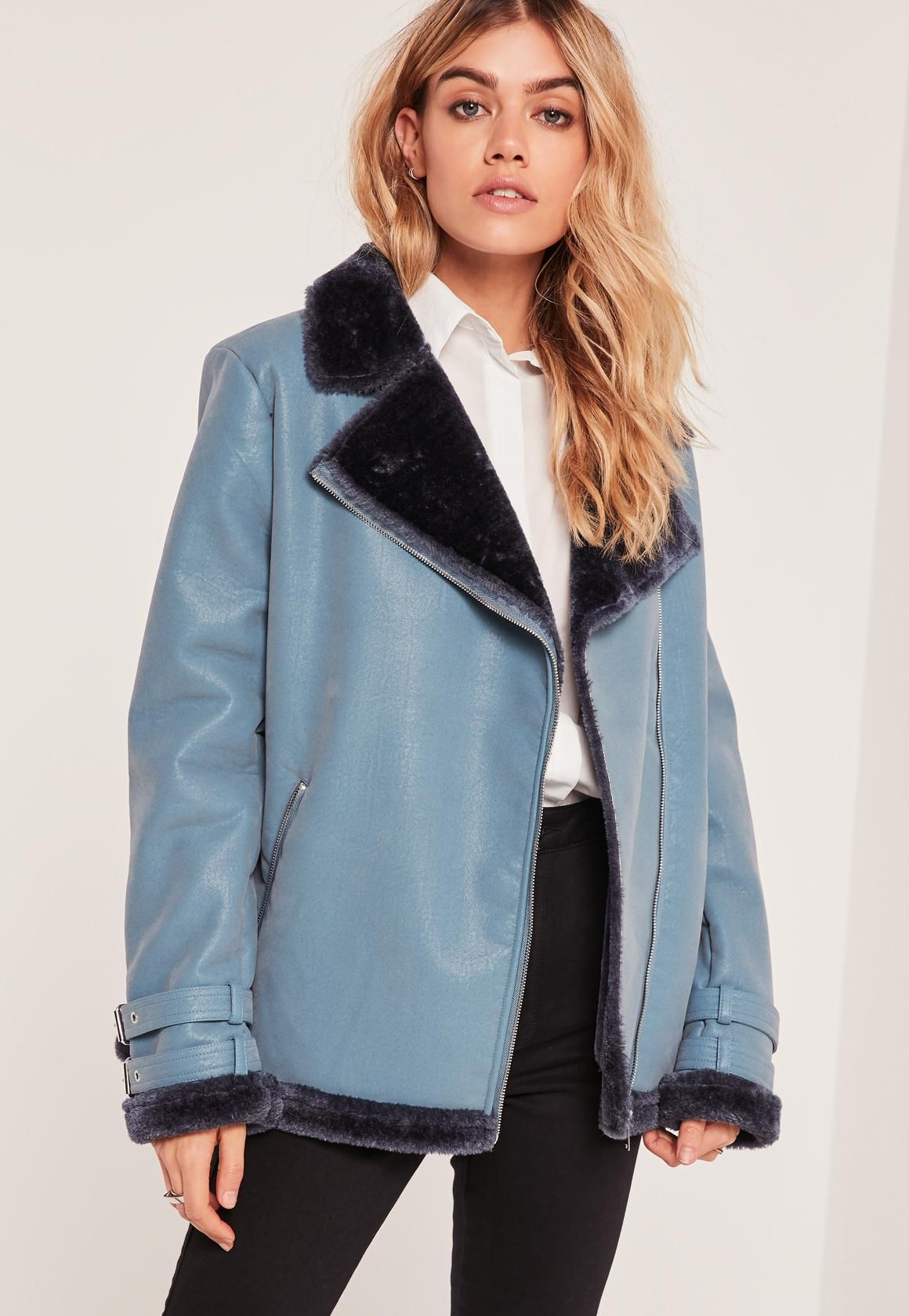 Missguided Fur Lined Pilot Jacket Blue Coats jackets