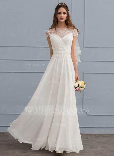 US$ 136.69] A-Line/Princess Scoop Neck Floor-Length Chiffon Wedding ...