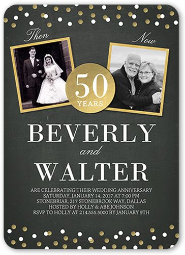 Then And Now Dots 5x7 Wedding Anniversary Invitations | Shutterfly