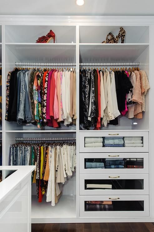Walk In Closet With Glass Front Dresser Drawers