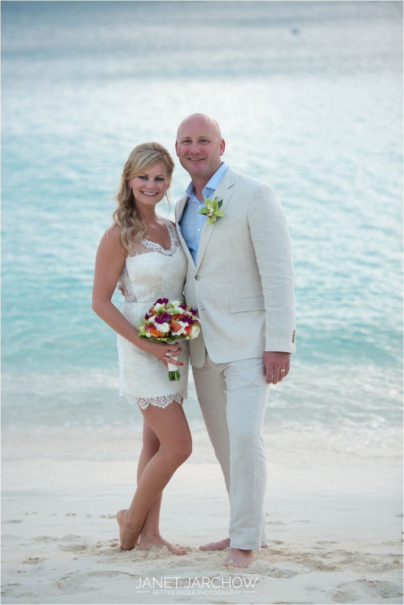 Casual Island Wedding On Seven Mile Beach In Grand Cayman With A Short Dress