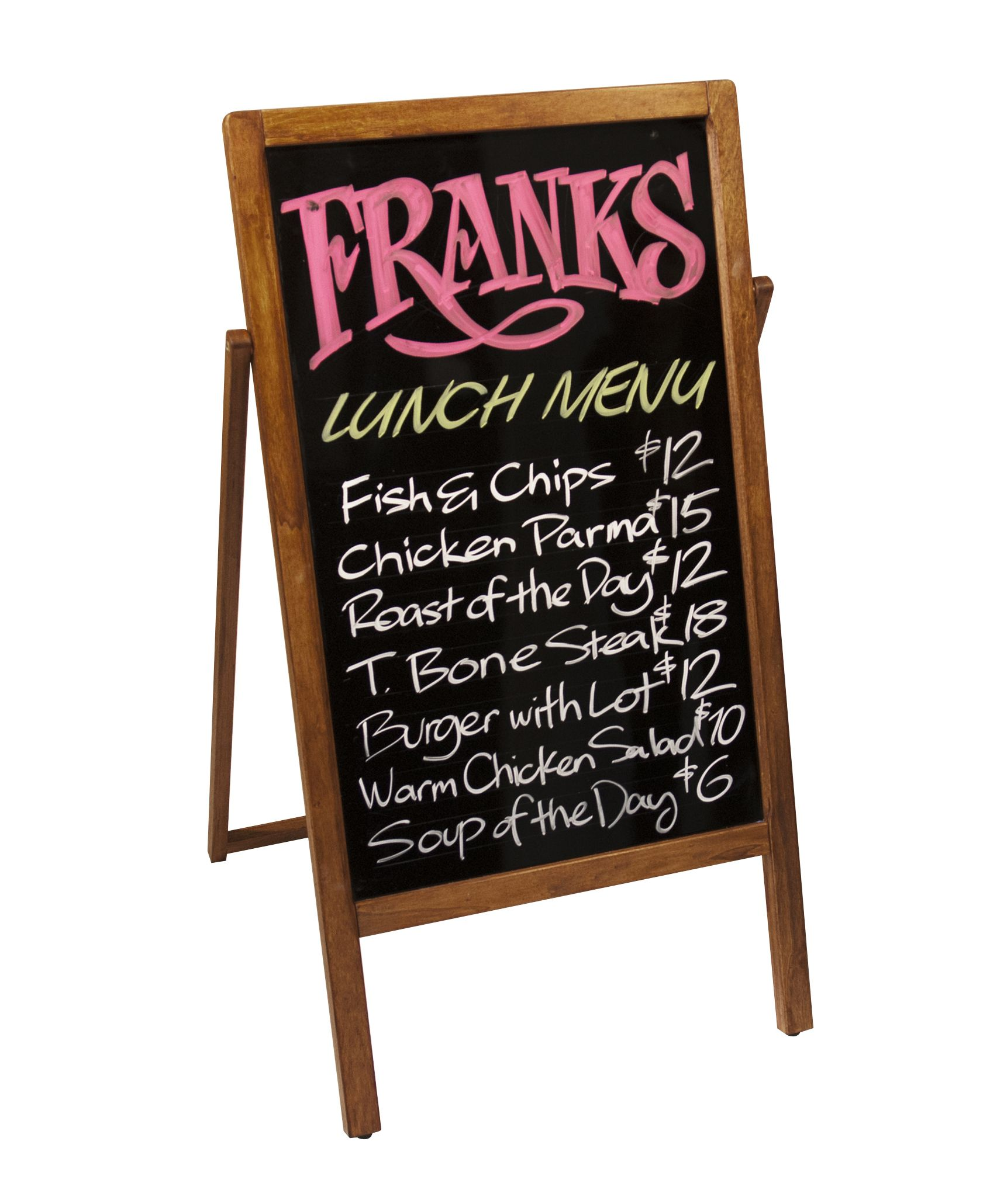 Wooden A Frame Sign With Reversible Chalkboard Surfaces Use This Unique A Frame Sign To Create An Eye Catching R Retail Signs Bakery Display Framed Chalkboard
