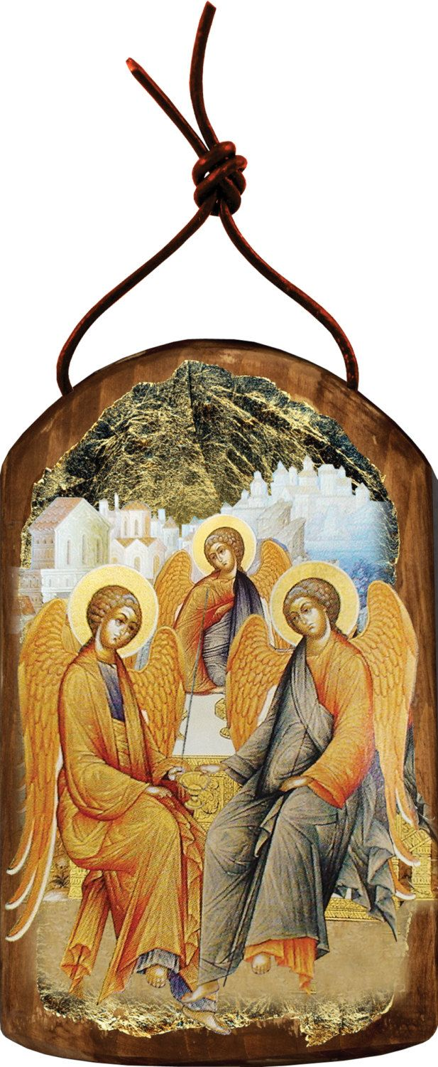Testament trinity icon wooden christmas ornament handcrafted sacred