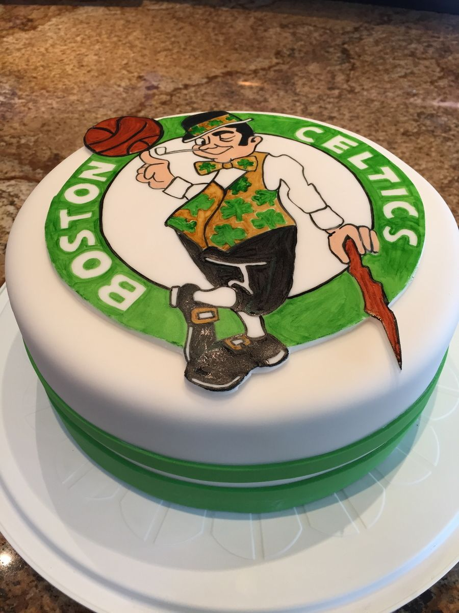 Boston Celtics Birthday Cakehand Painted Logo On Fondant My
