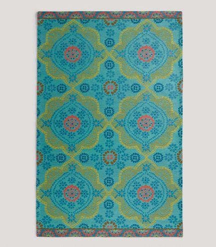 World Market Paisley Fl Outdoor Rug Turquoise Teal Green Pink Via Room Fu Knockout Interiors