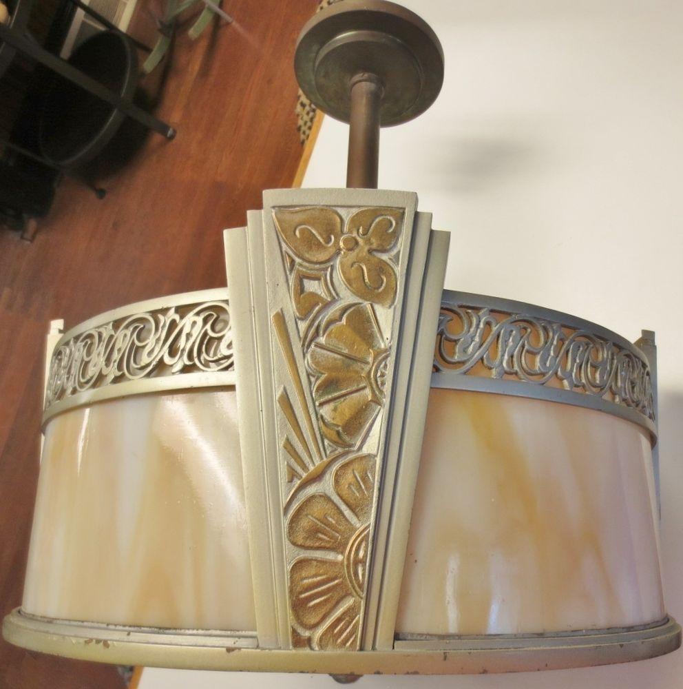 Antique art deco light fixture caramel slag glass ornate decorative