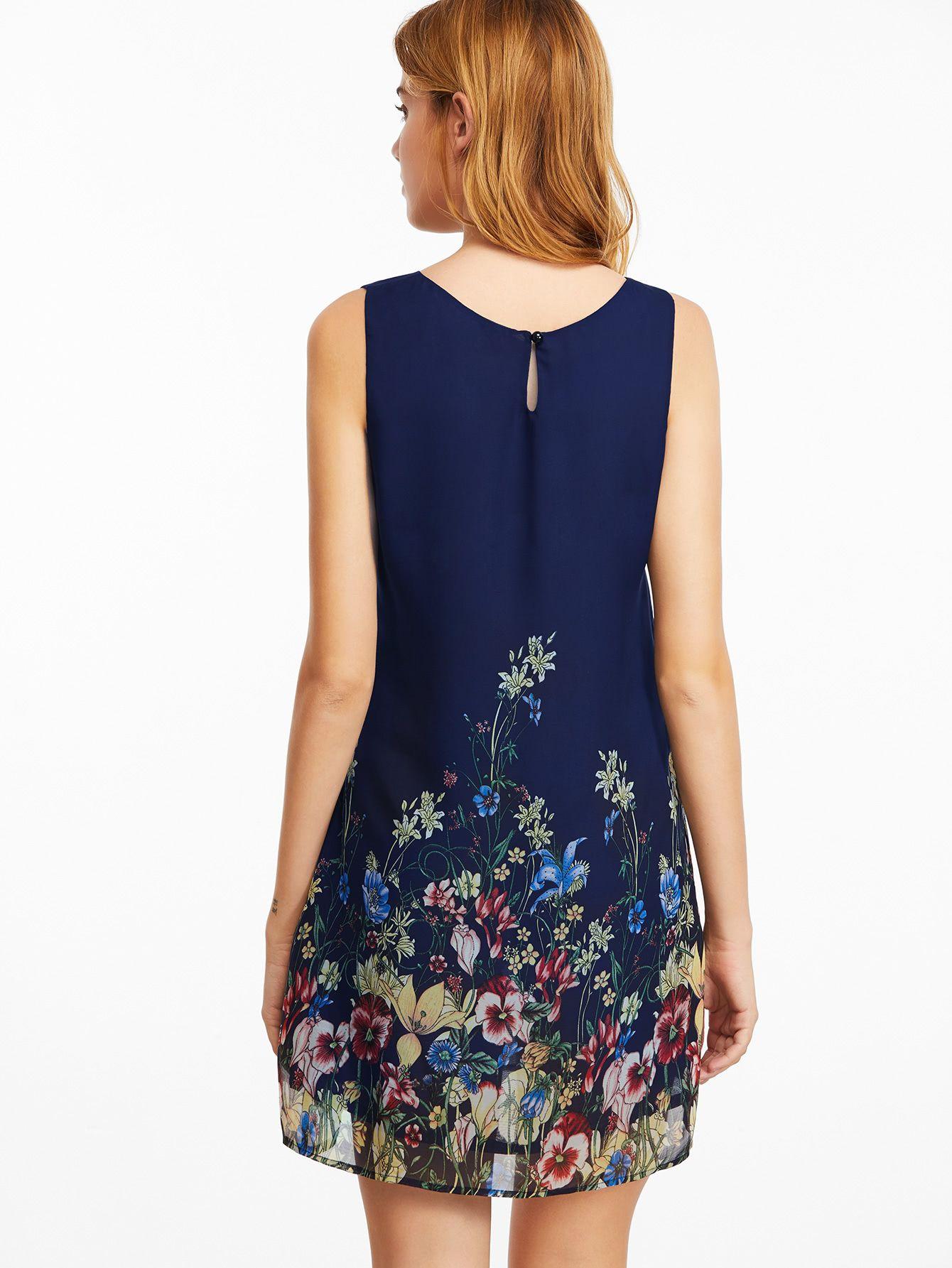 Vestido Sin Mangas Con Estampado Floral Azul Marino Spanish Shein Sheinside Sifon Elbise Elbise Modelleri Elbise