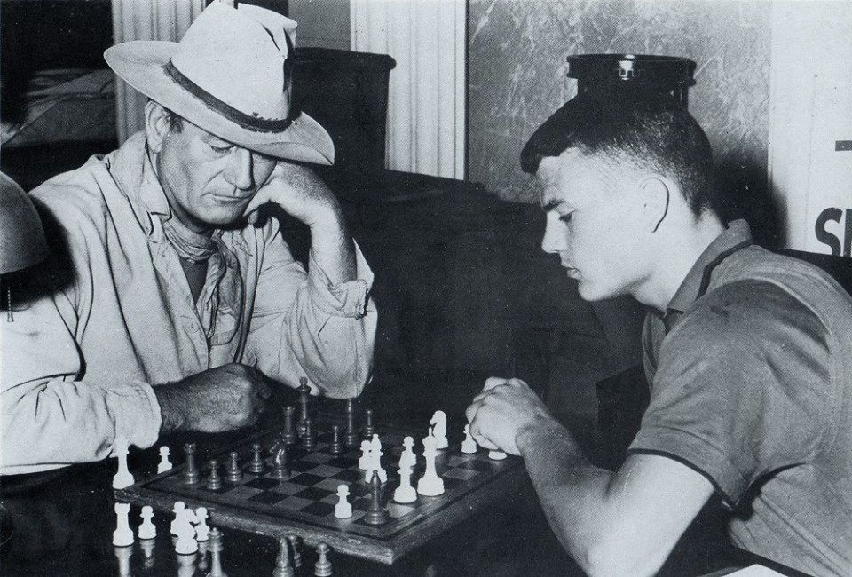 John Wayne and Patrick Wayne - McClintock - 1963 - Playing Chess