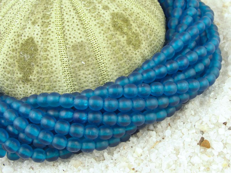 4mm Capri Blue 100 Round Beads Frosted Matte Seaglass Style Sea Glass Beads Beachglass Style Beach Glass Beads. $3.25, via Etsy.