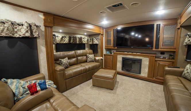 Front living room 5th wheel open range 3x 377flr fifth wheel for sale all seasons rv for Front living room fifth wheel toy hauler