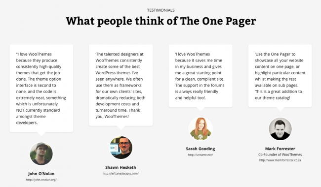 The One Pager | Testimonial Examples | Social proof