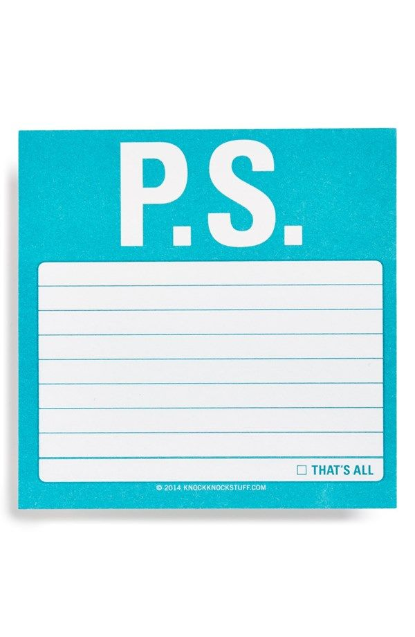 """P.S."" Sticky Notes – perfect for love notes!"