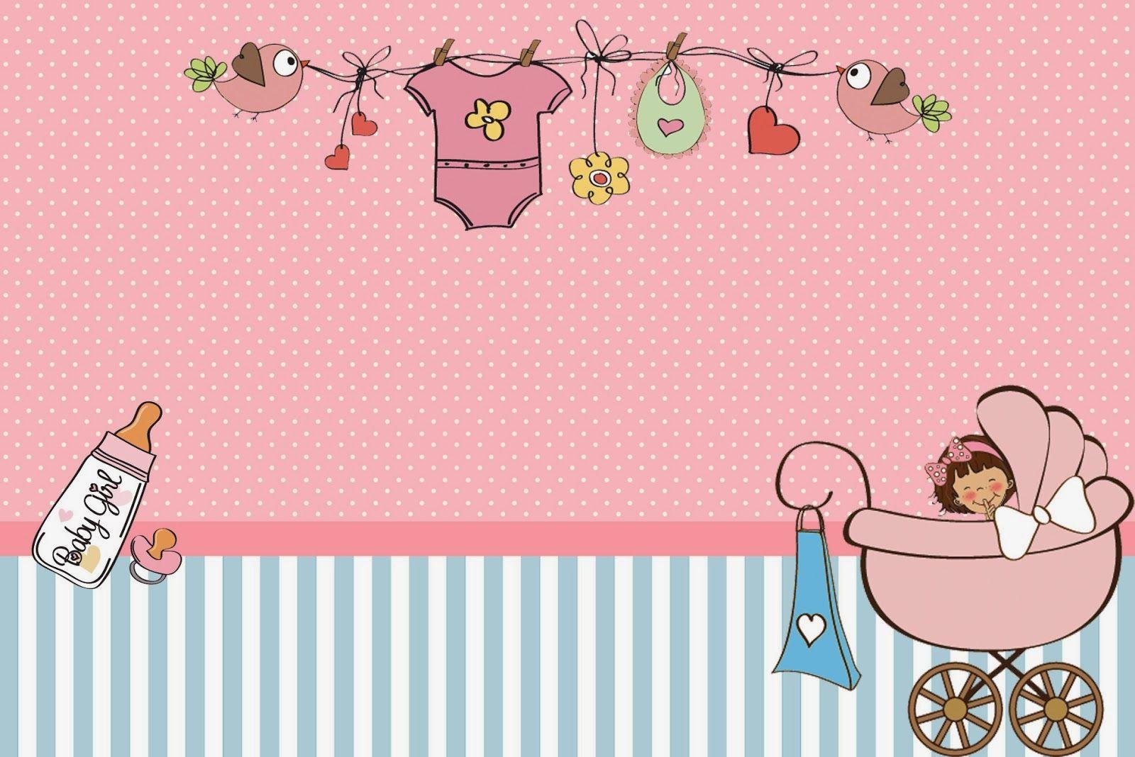 Cochecito Rosa de Bebé: Invitaciones para Imprimir Gratis. | P★L ...