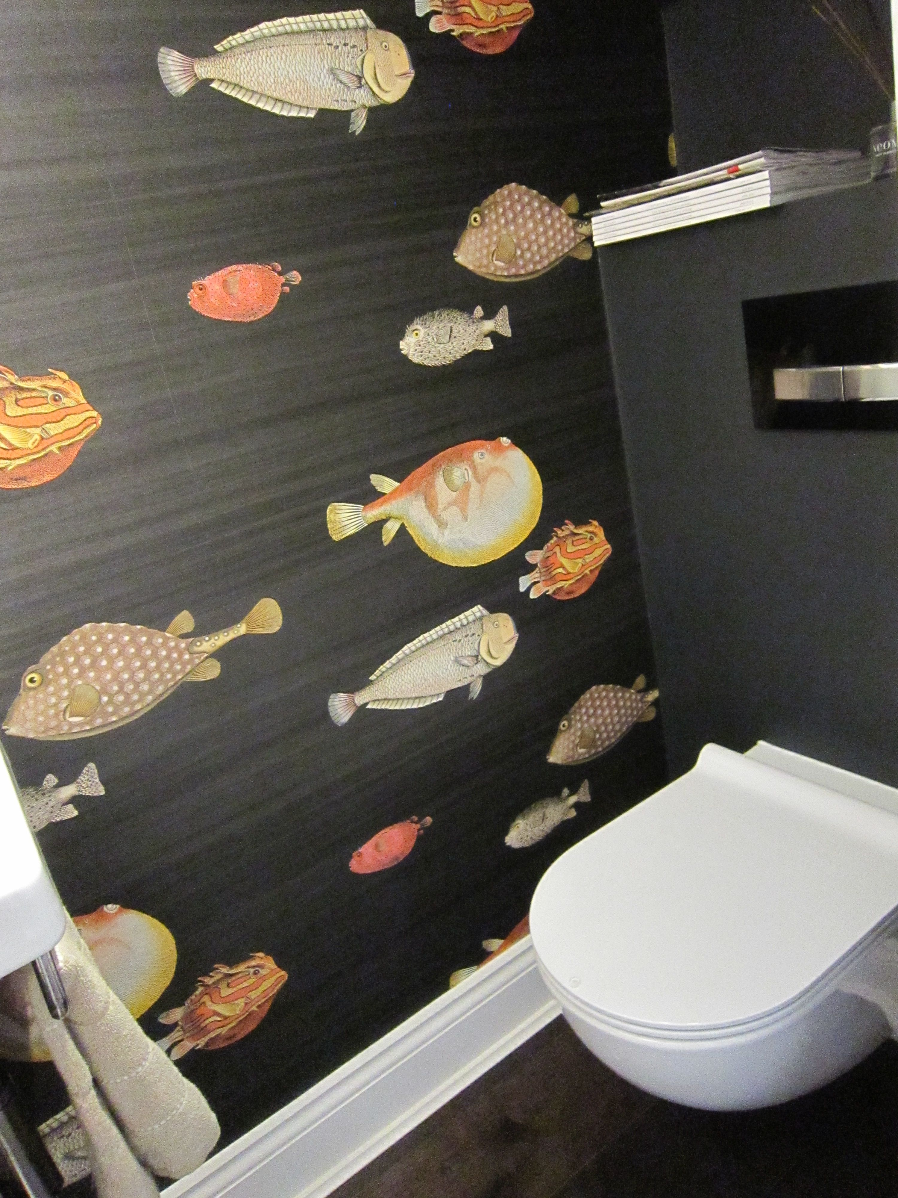 Great Feature Wallpaper Idea In Under Stairs Toilet Cloakroom