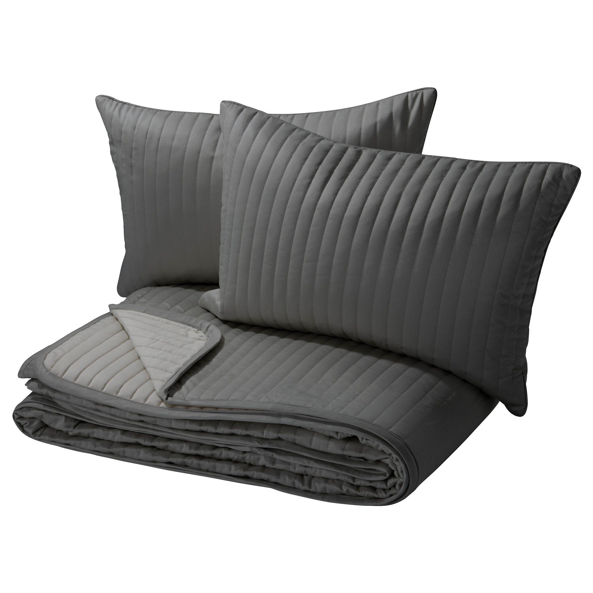 karit couvre lit et 2 housses coussin gris 260x280. Black Bedroom Furniture Sets. Home Design Ideas
