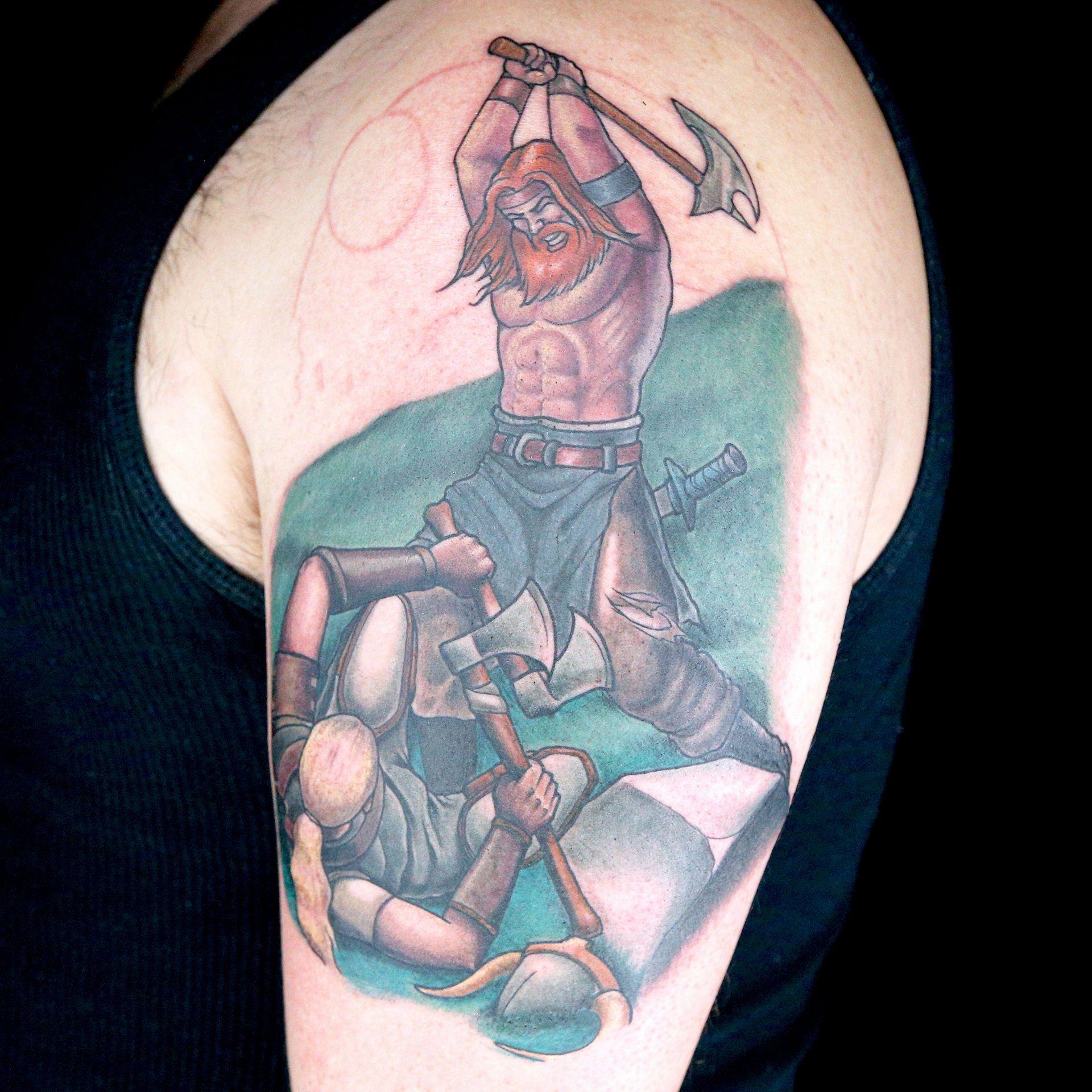 Color Realistic Battle Scene Tattoo By Classic Trilogy Tattoo Thom Bulman Derek Zielinski Ink Master Portrait Tattoo Tattoos