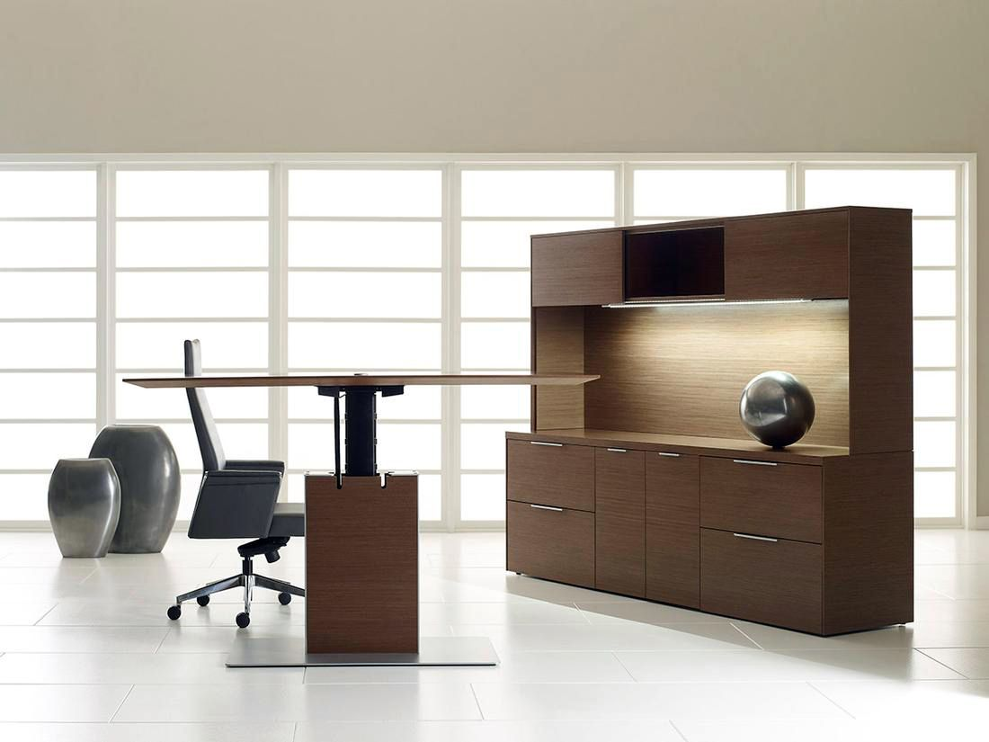 Contemporary executive wood sit to stand desk modern