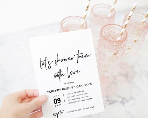 Couples Shower Invitation Template, Printable Wedding Shower, DIY - printable wedding shower invitations templates