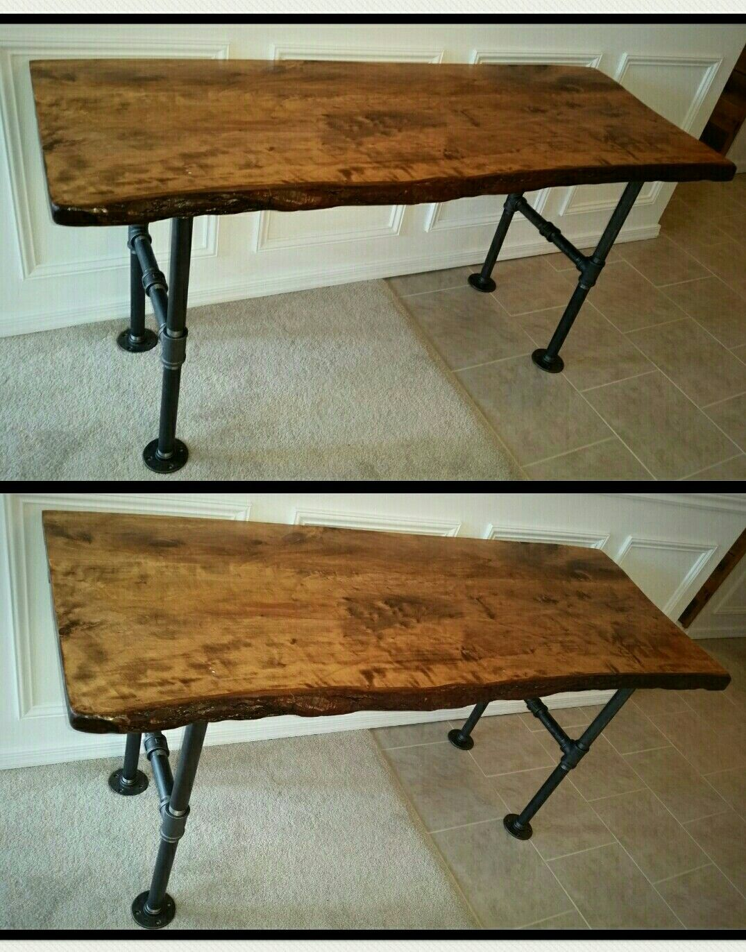 live edge wood slab desk. pipe desk. galvanized metal pipe desk