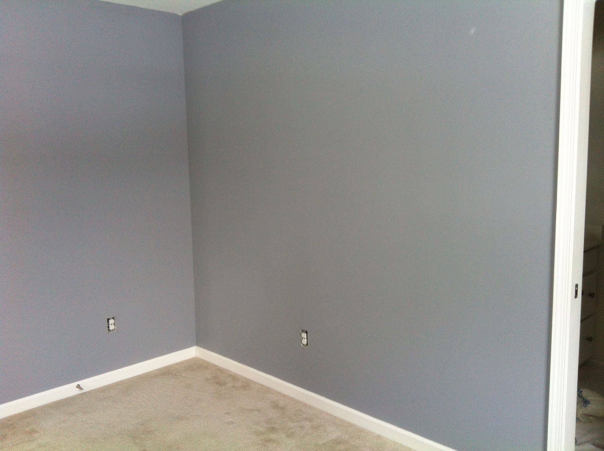 Sherwin Williams Morning Fog walls Shaw carpet in color pebble