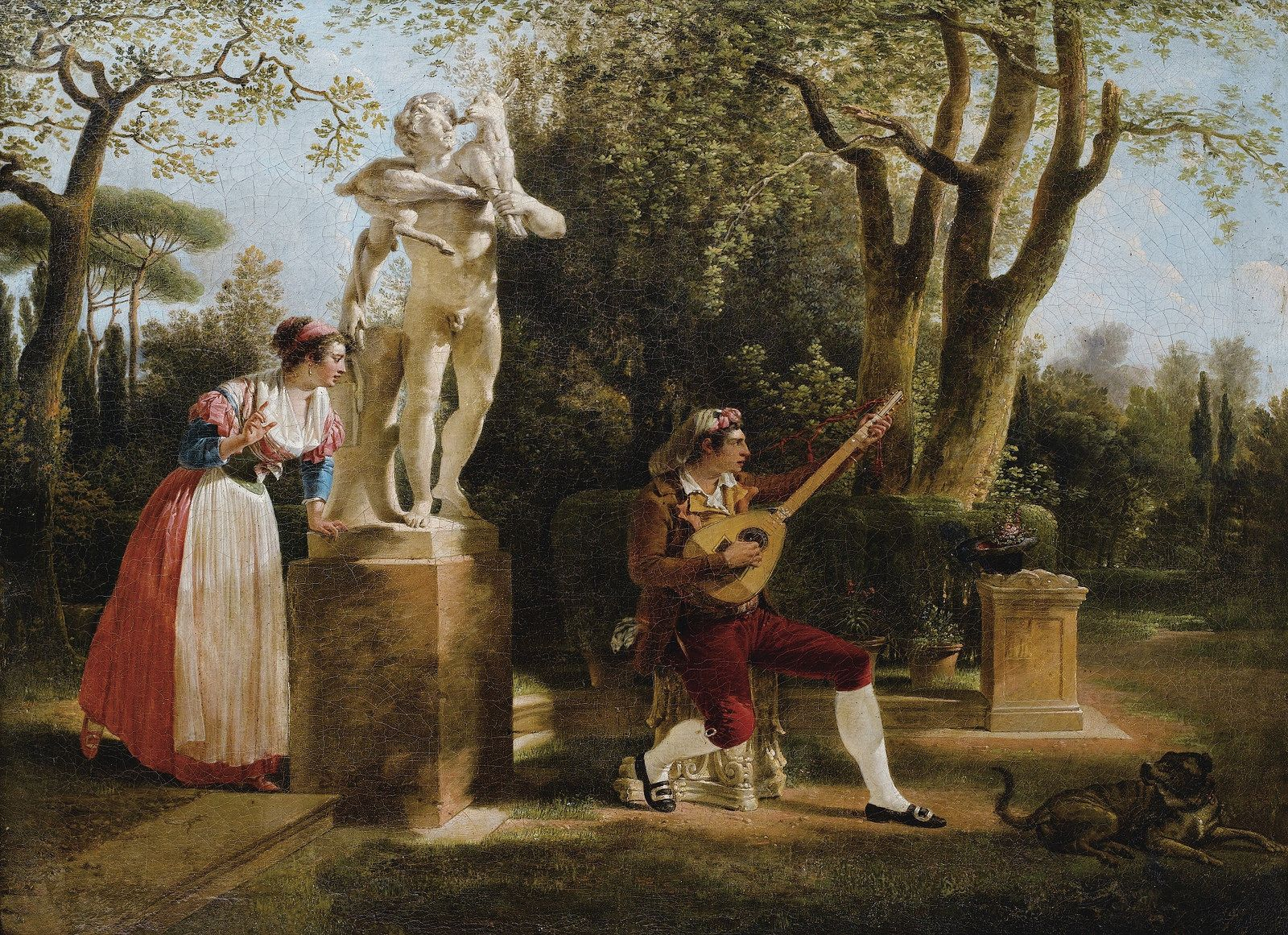 SABLET, JACQUES-HENRI - ELEGANTE LISTENING TO A GUITAR PLAYER IN A PARK IN ROM. 1791