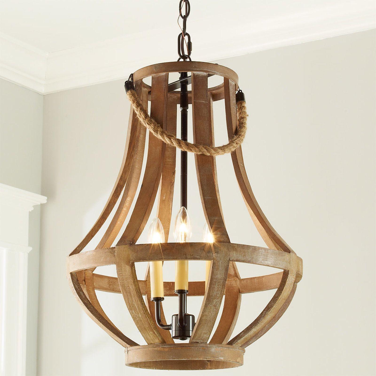 Rustic Wood Basket Lantern Small Wood Chandelier Rustic