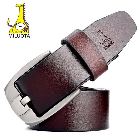 [MILUOTA] Mens Belts Luxury High Quality Genuine Leather Strap Man Designer Belts for Men Brand Ceinture MU063