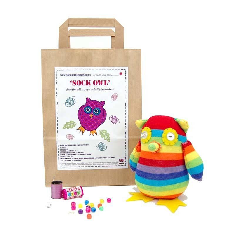 sock owl craft kit by sock creatures | notonthehighstreet.com