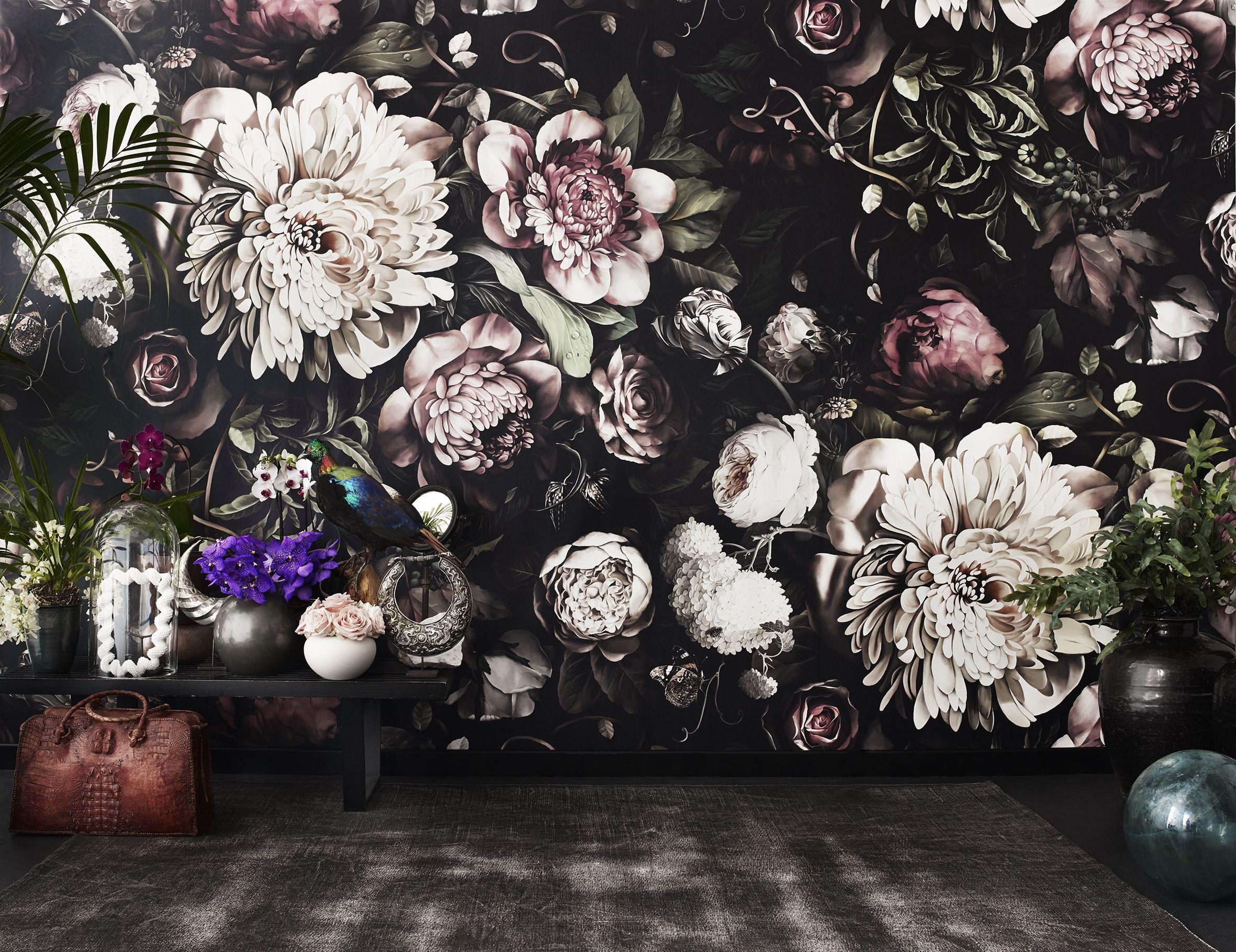 Ellie Cashman Design Dark Floral Ii Black Saturated Xl Wallpaper