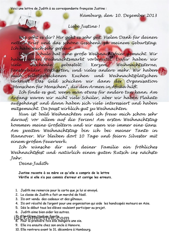 Weihnachtsbrief Leseverstehen | Weihnachtsbrief, Deutsch und Deutsch ...