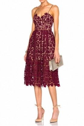 5b3eff9505fa0 Self-Portrait Burgundy Red Azalea Dress Lace