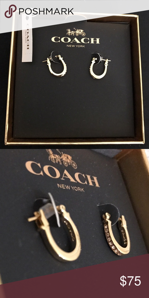 Coach Rose Gold Earrings Brand New With Tags Horse Shoe Like Shaped Tone Comes In Box Jewelry