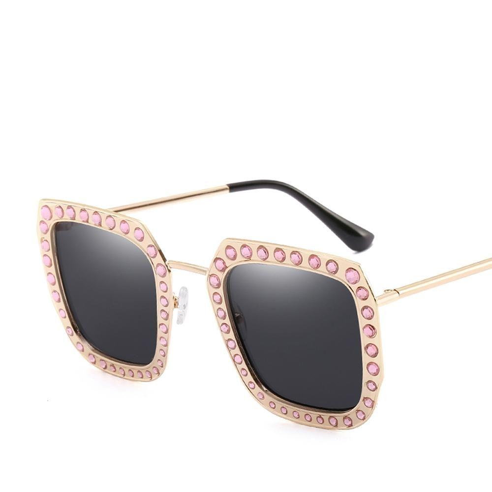 aada5433ac0 Peekaboo pink rhinestone sunglasses women square metal frame female luxury  sun glasses for women 2018 high
