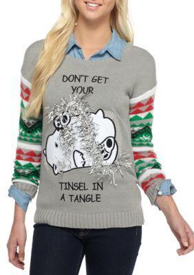 Derek Heart Gray Tinsel Christmas Sweater