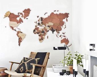 Weltkarte Der Welt Holz Wandkunst Grosse Holz Weltkarte Wand