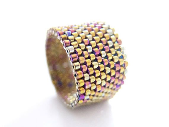 Metallic Gold Ring Gold Beaded Ring Classic Ring by JeannieRichard, $25.00