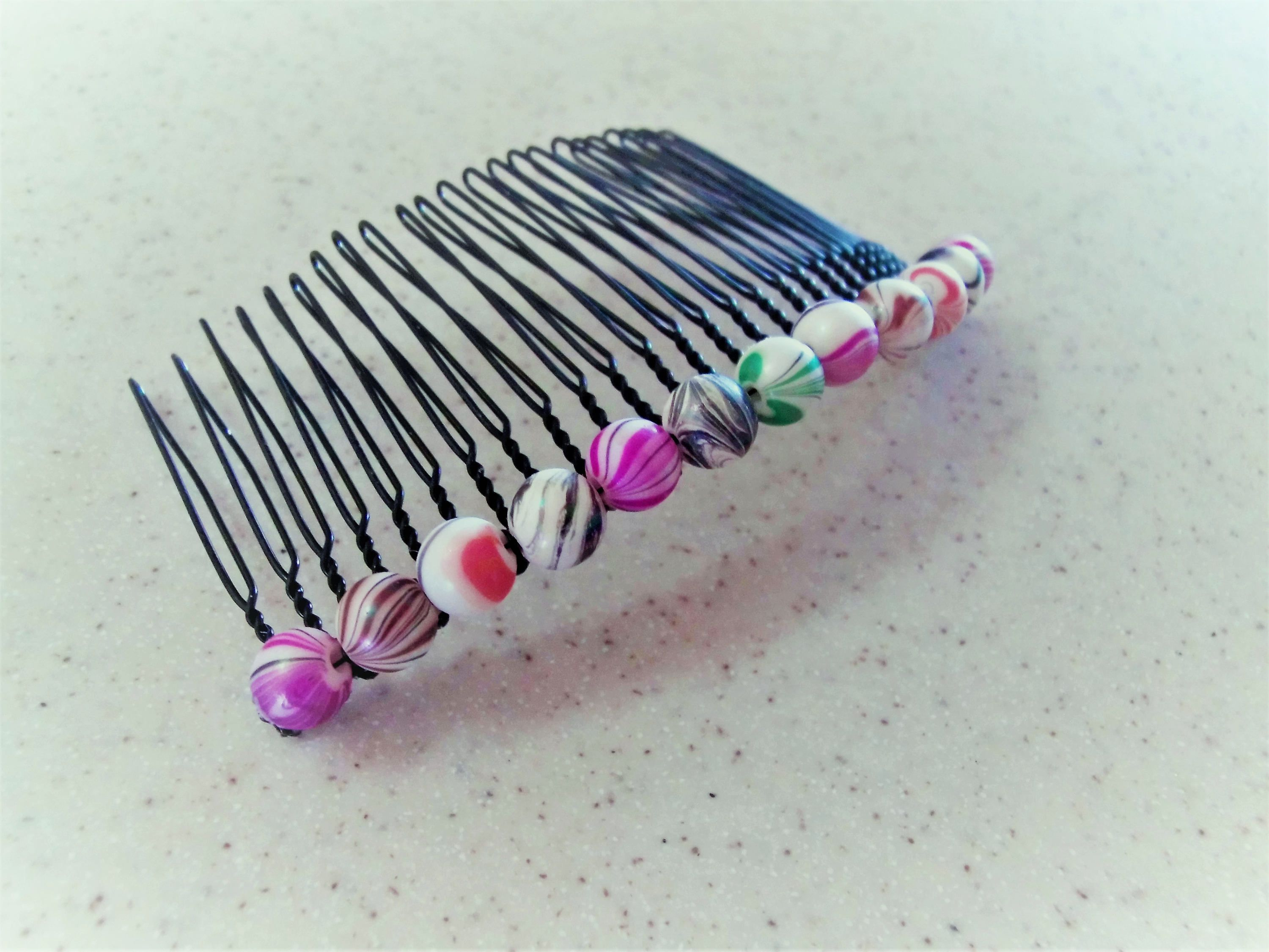 Hair Comb, Large Hair Comb, Black Comb Wire-Wrapped with Multi-Color ...