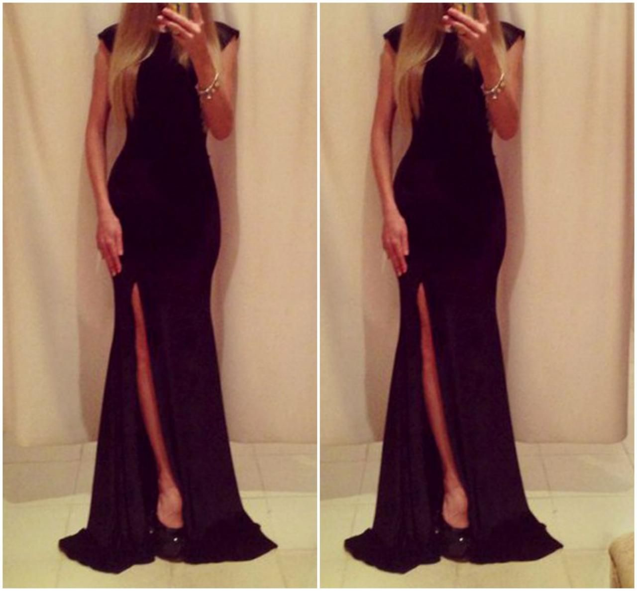 Classy Prom Dresses,Pure Black Prom Dresses,Long Prom Dresses,with ...