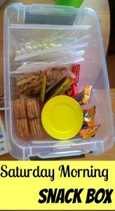 My son is four, soon to be five years old. He likes to be in control. As he gains independence, I like to give him more control. I have had a snack box for about a year in a lower cabinet in my kitchen. Saturday Morning Snack Box - We Three Crabs